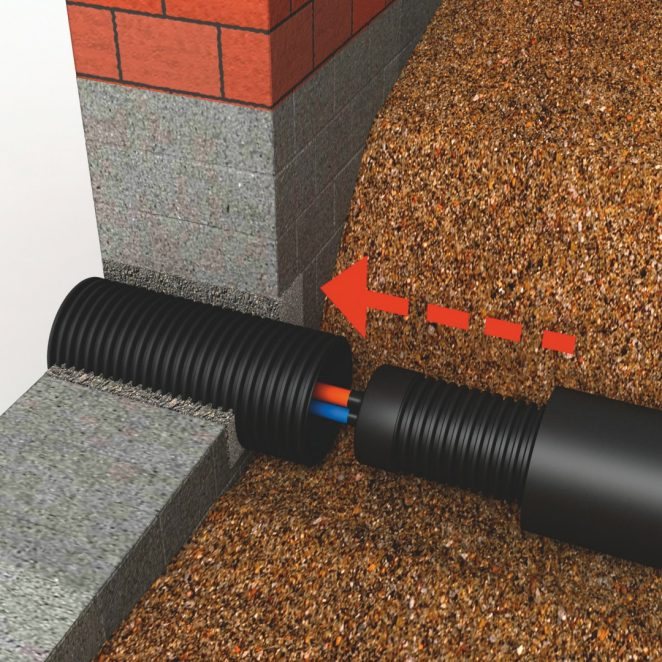 Installation Wall Penetration District Heating Pipe